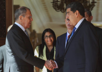 Venezuela's President Nicolas Maduro shakes hands with Russia's Foreign Minister Sergey Lavrov at the Miraflores Palace in Caracas, Venezuela February 7, 2020. REUTERS/Manaure Quintero