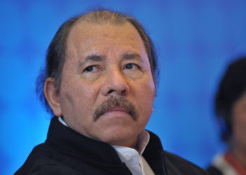 Nicaraguan President Daniel Ortega attends a meeting with members of the Central American Integration System (SICA) in a hotel  in Panama City on April 10, 2015, in the framework of the VII Americas Summit.  AFP PHOTO/MANDEL NGAN        (Photo credit should read MANDEL NGAN/AFP via Getty Images)