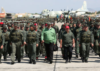 Venezuela's President Nicolas Maduro attends a military exercise in Maracay, Venezuela January 29, 2019. Picture taken January 29, 2019. Miraflores Palace/Handout via REUTERS ATTENTION EDITORS - THIS PICTURE WAS PROVIDED BY A THIRD PARTY.