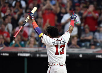 Jul 8, 2019; Cleveland, OH, USA; Atlanta Braves outfielder Ronald Acuna Jr. (13) during the first round in the 2019 MLB Home Run Derby at Progressive Field. Mandatory Credit: Ken Blaze-USA TODAY Sports